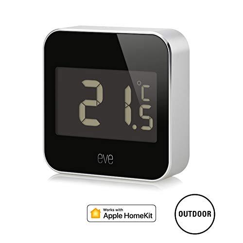 Eve Degree - Vernetzte Wetterstation zum Überwachen von Temperatur, Luftfeuchtigkeit und Luftdruck; Display, IPX3-Wasserbeständigkeit, keine Bridge erforderlich (Apple HomeKit)