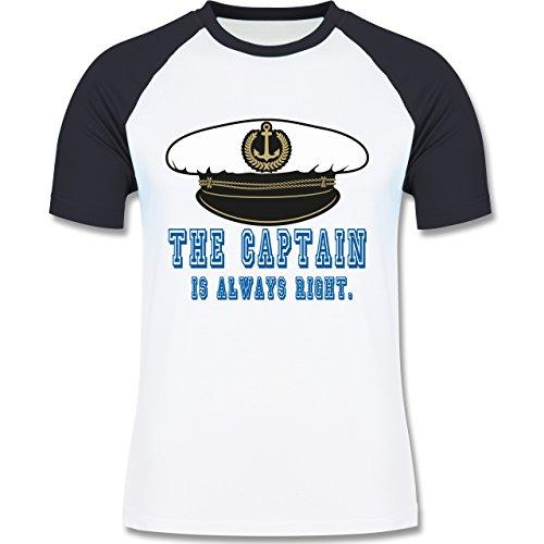 Statement Shirts - The Captain is always right - zweifarbiges Baseballshirt für Männer Weiß/Navy Blau