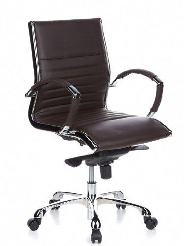 hjh OFFICE 660522 Bürostuhl Chefsessel PARMA 10 Leder braun, design Klassiker, hochwertige Verarbeitung, mittelhohe Rückenlehne, Schreibtischstuhl ergonomisch, Büro Sessel, Drehstuhl, XXL Chefsessel