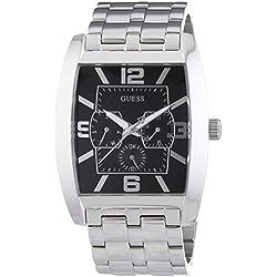 Guess - W95015G1 - Mens Fashion - Montre Homme - Quartz Analogique - Cadran Noir - Bracelet Acier Argent