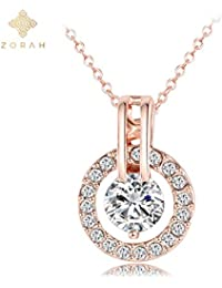 Zorah Rose Gold Plated Round Pendant With Chain For Women And Girls Embellished With Clear Cubic Zirconia Diamonds...