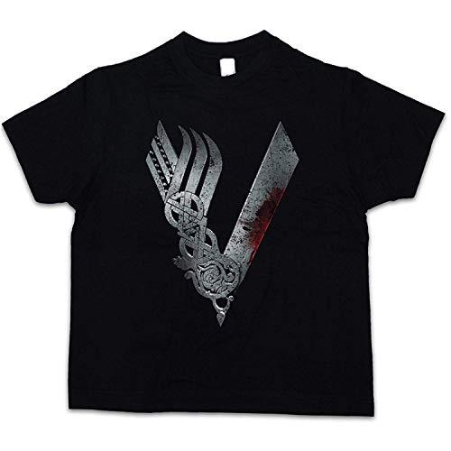 TINCURI Camiseta NIÑO Negra Vikingos Logo. Serie TV. Ragnar Lothbrok Vikings (XS-XXL)