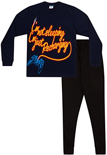 """Pigiama da bambino con scritta """"i'm not sleeping i'm just recharging"""", età: 11-16 anni, colore: blu blue 13-14 anni"""