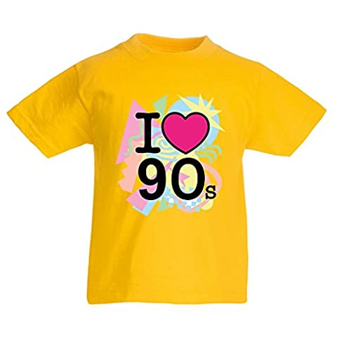 T-shirt pour enfants I Love 90's! - retro style clothing (14-15 years Jaune Multicolore)
