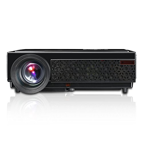 "Excelvan LED 96+ - HD Proyector LED 1280P (3000 Lumenes, 1280 x 800P, Proyeccion 60"" - 120"", 4:3 16:9, 2000:1, 1.5M Mini distancia, Comparte con TV X-BOX PS4 Laptop PC USB iPhone Android Smartphone Por Via HDMI, VGA&#x3B; Altavoz) , 96 Negro"