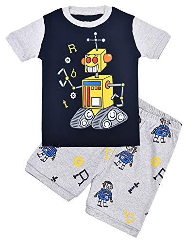 Little Hand Schlafanzug Jungen Dinosaurier Bagger Roboter Kinder Sommer Zweiteiliger Baumwolle Kurz Nachtwäsche 92 98 104 110 116 122 -