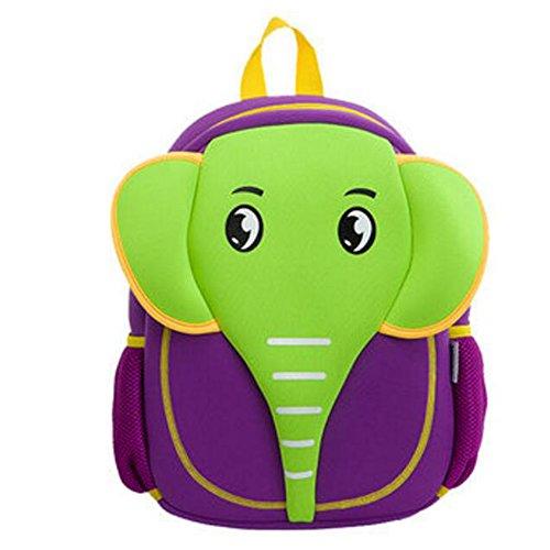 Georgie Porgy 3D Mochila Infantile Animal Bolsas Escolares de niños niñas (Elefante-púrpura)