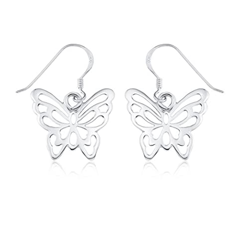 Ornami 0.925 Sterling Silver Modern Pierced Out Butterfly Earring Drops