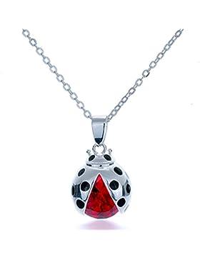 Rhodiniert, echter Marienkäfer Ladybug Halskette, Organza-Geschenkbeutel enthalten).