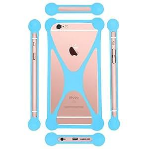 Casotec Universal Silicone Bumper Frame Soft Gel Phone Case Cover for XOlO Q1010i - Sky Blue