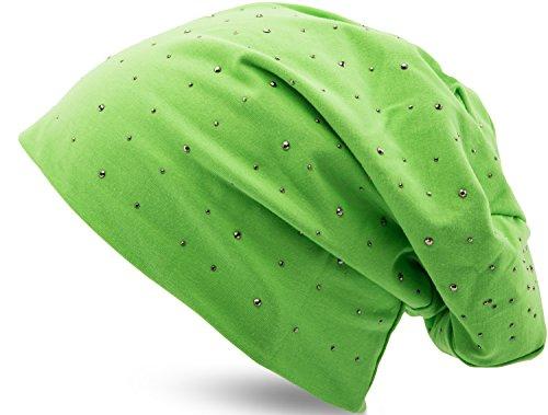 Jersey Baumwolle elastisches Long Slouch Beanie Unisex Herren Damen mit Strass Stern Steinen Mütze Heather in 35 verschiedenen Farben (7) (Green) (Mint Grün Beanie)