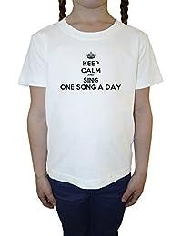 Keep Calm And Sing One Song A Day Blanco Algodón Niña Niños Camiseta Manga Corta Cuello Redondo Mangas White Girls Kids T-shirt