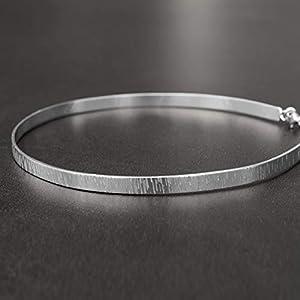 Minimalistische Halskette, Manschettenkette, Halskette chocker aus Sterlingsilber, Manschettenhalsband, Silberkette, Braut Halskette, Hochzeit Halskette