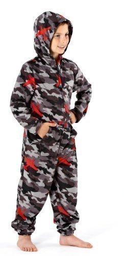 Ragazzi camouglafe stampa caldo pile tuta intera pigiama abbigliamento da notte abbigliamento comodo 1973 - grigio, 7-8 anni