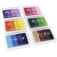 Almohadillas de Tinta Arcoiris almohadillas de tinta Rainbow Craft sello 24 colores Multicolor Artesan¨ªas Para usarse con Sellos de Goma sobre Papel, Madera, Tela