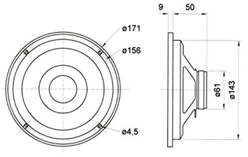 Visaton vs-msfr6.5auf Putz/Deckenleuchte,–Lautsprecher (schwarz, 70–20000Hz, 171x 171x 59mm)