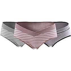 Feoya Mujer Bragas Maternidad Algodón para Embarazadas Calzoncillo de Pre-mamá Cintura Baja Pregnant Underwear Paquete de 3 - Gris Rayas/Caqui Rayas/Gris Oscuros XL