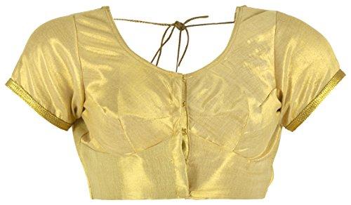 SS Garments Women Silk Saree Blouse,Golden Shimmer Art Silk,Stitched Readymade Blouse,Gold (K072-38,...
