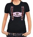 ShirtStreet Wiesn Damen Frauen T-Shirt Rundhals Oktoberfest - Mädchen Lederhose Prinzessin, Größe: M,schwarz