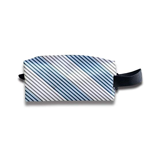 White and Blue Stripe Optical Women Cosmetic Bag Travel Girls Oxford Toiletry Bags Cute Portable Hanging Organizer Makeup Pouch Pencil Case -