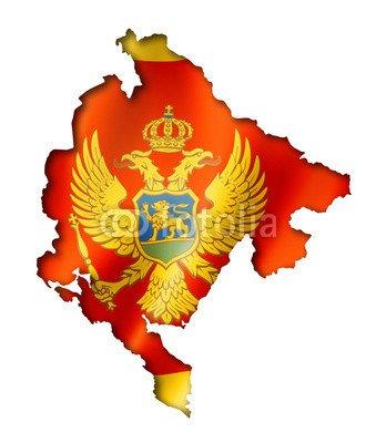 "Leinwand-Bild 30 x 40 cm: ""Montenegro flag map"", Bild auf Leinwand"