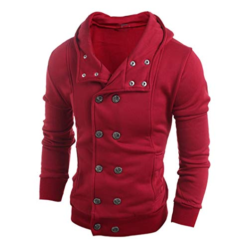 IMJONO Men Fashion Herbst Winter Kapuzenpullover Top Bluse (EU-48/CN-XL,Rot)
