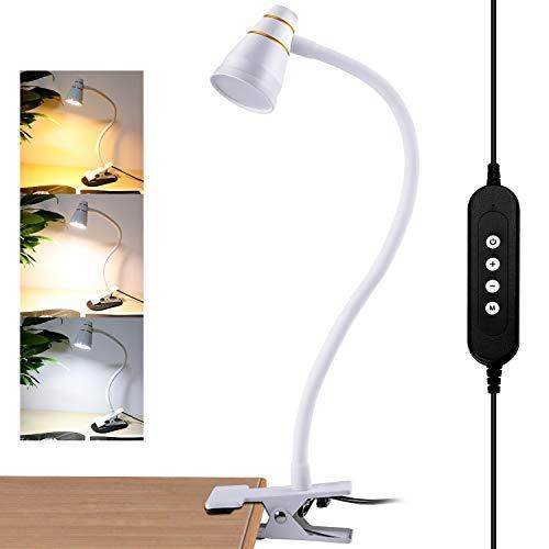 Lampe de Lecture à Pince - Lampe de Bureau/Lampe de Lit 5W, LED USB 3 Modes, Réglable avec 11 Niveaux de Luminosité pour Bureau, Maison, Lecture, étude, Travail (Blanc)