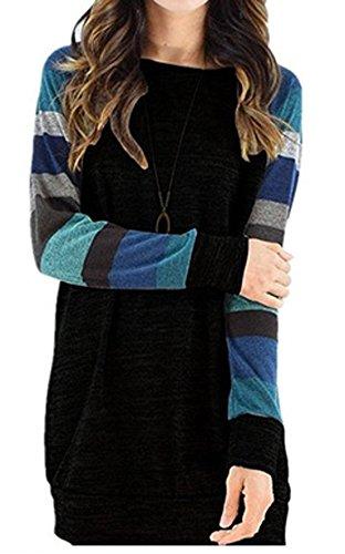 Sweats Pulls Coton Top Tee Shirt Femme T-shirt Chandail Sweaters à Manche Longue Rayures T-Shirt Long Haut Sweat-shirts Court Robes Noir1