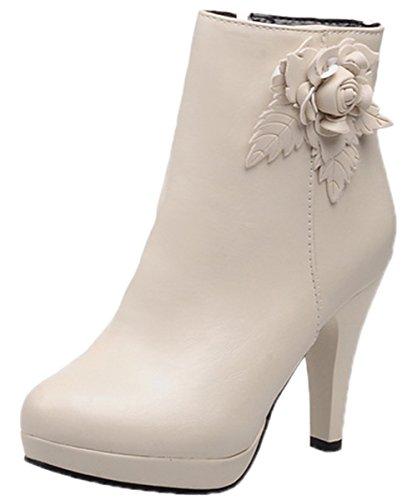 Heel Platform Knee Stiefel (HooH Damen Stiefeletten Reißverschluss 3D Blume High Heel Platform Stiefel Beige 43 EU)