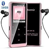Hommie Lettore MP3 Bluetooth 16 GB, MP3 Player Portabile con Pulsante di Tocca Retro Illuminato, Lettore Musicale, MP3 con Volume Indipendente, Sostegno SD USB TF Fino alla 128GB,1.8Inch Rosa