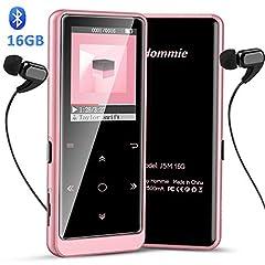 Idea Regalo - Hommie Lettore MP3 Bluetooth 16 GB, MP3 Player Portabile con Pulsante di Tocca Retro Illuminato, Lettore Musicale, MP3 con Volume Indipendente, Sostegno SD USB TF Fino alla 128GB,1.8Inch Rosa