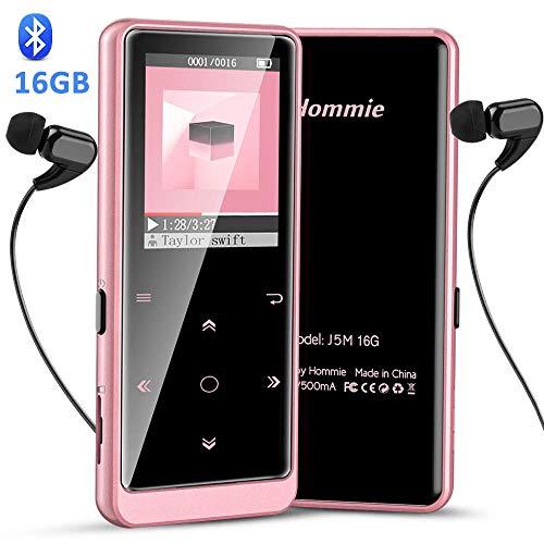 Hommie Lettore MP3 Bluetooth 16 GB, MP3 Player Portabile con Pulsante di Tocca Retro Illuminato,...