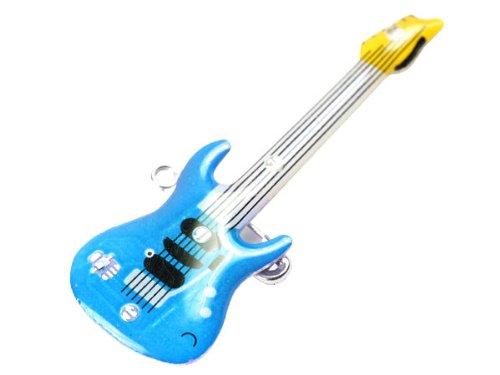 Blinki LED Anstecker Blinky Brosche LED Pin Button viele Motive, wählen:Gitarre blau 03