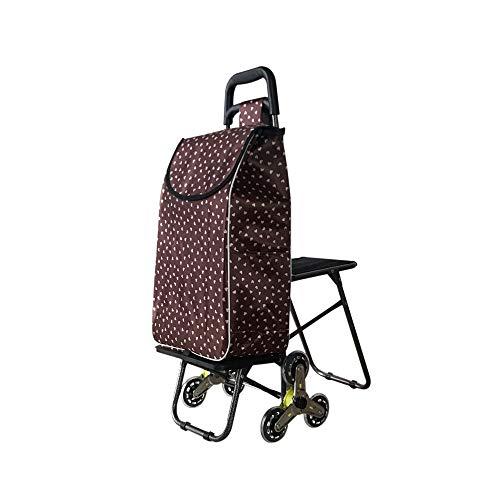 Supermarkt-Einkaufswagen-Faltbare Edelstahl-Achse, die EIN Treppen-Auto-Einkaufslaufkatzen-Haushalts-kaufende Gemüse-Laufkatze klettert GW (Farbe : Brown)