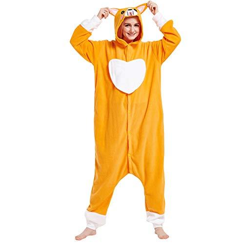 LSHEL Cosplay Jumpsuit Tier Cartoon Karneval Halloween Kostüm Fleece Overall Pyjamas Unisex Erwachsen Einteilige Pyjamas, Gelber Liebeshund, S(148-158cm) (Erwachsene Einteilig Für Pyjama)