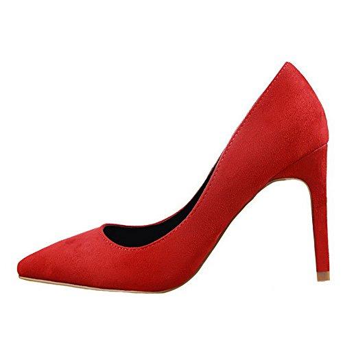VogueZone009 Femme Tire Pointu à Talon Haut Suédé Couleur Unie Chaussures Légeres Rouge