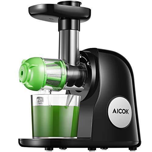 Aicok Slow Juicer kaltgepresster Entsafter für Gemüse und Obst, leicht zu reinigen mit Bürste, Rezepte für Saft Maschine für Gemüse und Obst