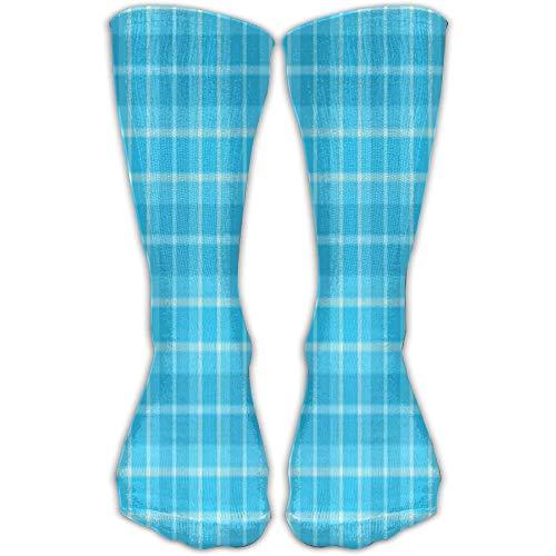 ouyjian Oberschenkel hohe Socken blau Kariertes Muster Kniestrümpfe 30cm Strümpfe - Muster-knie-hohe Socken