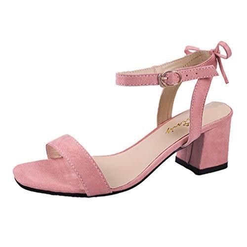 Riou-Sandals Damen Sommer Riemchensandalen 6cm Blockabsatz Sandalen Knöchelriemen Sandaletten Sommer High Heels Schuhe mit Absatz,Schwarz Rosa und Khaki