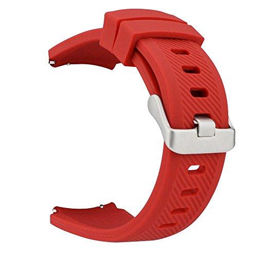 MroTech Correa Reloj 22mm Pulseras Bandas Goma Silicona Caucho Compatible para Samsung Gear S3 Frontier/Classic/Galaxy Watch 46 mm/Huawei Watch GT 2 /GT Sport/Active/Elegant Banda de Reemplazo - Rojo