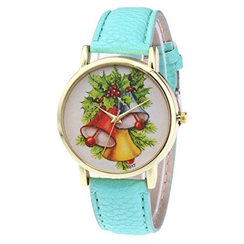 Fulltime® Nouveau modèle d'arbre de Noël à la mode charme spécial de conception de cadran de cuir de quartz (Vert)