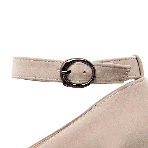 AllhqFashion Damen Blend-Materialien Schnalle Zehe Hoher Absatz Rein Pumps Schuhe Cremefarben