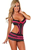 Beautiful Black Babydoll & Thong Set With Polka Dot Design Edged With Pink Lace And Ribbon Bows