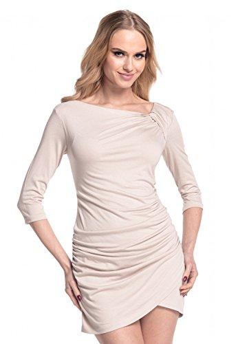 Glamour Empire. Damen ¾ Arm-Shirt Minikleid mit gerafftem Vorderteil Tunika. 995 Ekrü