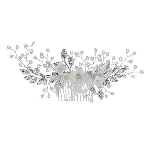 Kostüm Göttin Frisuren - Hochzeit Haarspange Strass Braut Kamm Haarspange - Handmade Flower Clip Kopfschmuck für Frauen Silber 18.7cm