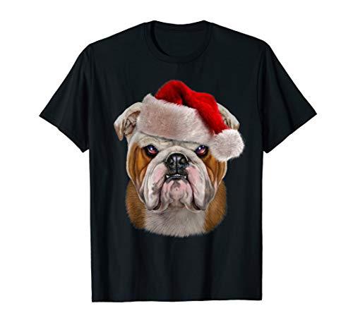 Black Santa Claus Hut (Englische Bulldogge in Santa Claus-Hut auf Weihnachten T-Shirt)