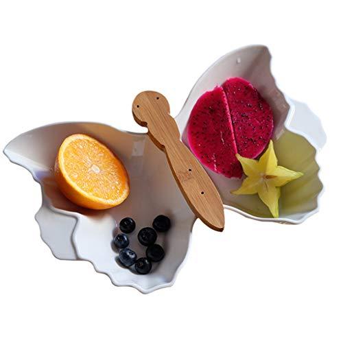 LQY Obstteller, Haushalts-Trockenobstteller, Meterial aus Holz und Keramik, Snack-Teller mit Keramikgriffen, Food-Server-Display-Platte, für Verschiedene Anlässe geeignet,Weiß Food Display-server