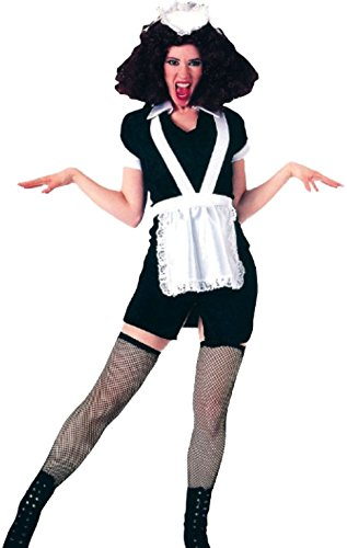 Karnevalsbud - Damen Rocky Horror Magenta Kostüm mit Schürze und Kopfteil, L, (Kostüme John Grease Travolta)