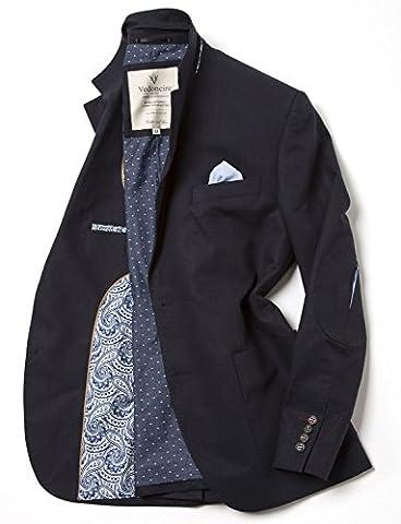 VEDONEIRE Mens Linen blend Blazer (3071 Navy) (L (chest 41-43 inch))