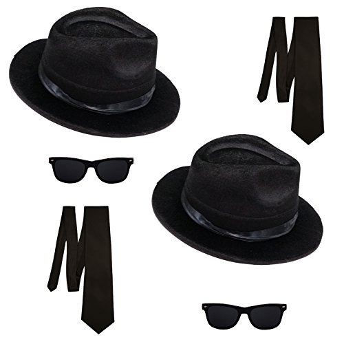 2 Blues Brothers Sets Hut und Brille + 2 Schlipse Kostüm Set (Brothers Kostüme)